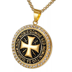 PE0164 BOBIJOO Jewelry Pendant Templar Steel Gold Rhinestone Cross Non Nobis + String