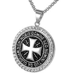 PE0164S BOBIJOO Jewelry Pendant Templar Steel Silver Rhinestone Cross Non Nobis + String