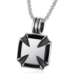PE0070 BOBIJOO Jewelry Pendant Necklace Cross Pattée of the knights Templar Steel Chain