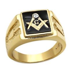 Ring Signet ring Masonic Square Gold-plated finish
