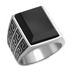 Ring Large Cabochon Cisellé Stainless Steel Onyx