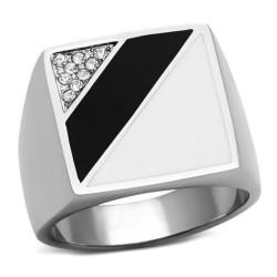 Bague Chevalière Cabochon Email Noir Blanc Faux Diamants bobijoo