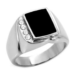 Bague Chevalière Email Noir Cabochon 4 Faux Diamants