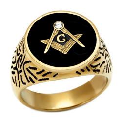 Ring Signet Masonic Oval Gold-plated finish
