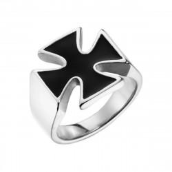 BA0359 BOBIJOO Jewelry Signet ring Cross of Malta, knight Templar Biker 17mm