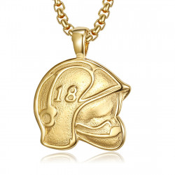 PE0254 BOBIJOO Jewelry Pendant Helmet Fireman France 18 Steel Gold