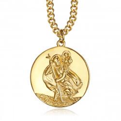PE0258 BOBIJOO Jewelry Pendant Necklace, Saint Christopher Traveller Steel Gold 25mm