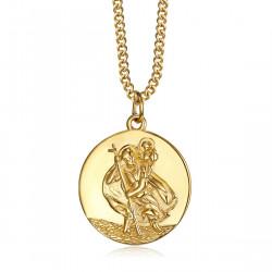PE0260 BOBIJOO Jewelry Pendant Necklace, Saint Christopher Traveller Steel Gold 20mm