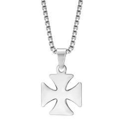 PE0128S BOBIJOO Jewelry Pendant Cross Pattee Templar Knight Steel + Chain