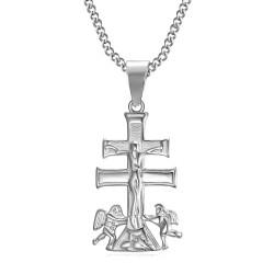 PE0193S BOBIJOO Jewelry Anhänger Kreuz von Caravaca de la Cruz 32mm stahl 316L