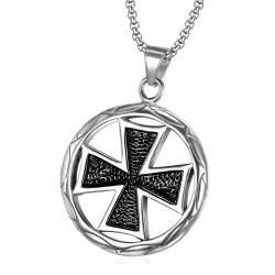 PE0038 BOBIJOO Jewelry Anhänger Medaillon Kreuz Pattée Schwarz silber
