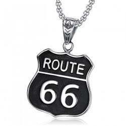 Pendentif Blason Biker Route 66 Acier 316L Noir bobijoo