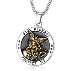 Pendentif Saint Michel Michael Protection Acier Or bobijoo