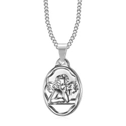 PE0270 BOBIJOO Jewelry Pendant Medal Guardian Angel Baptism Steel Silver