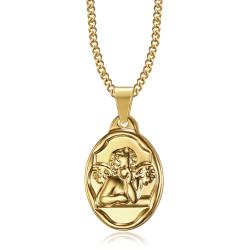 PE0269 BOBIJOO Jewelry Pendant Medal Guardian Angel Baptism Steel Gold