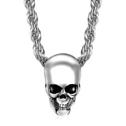 PE0267 BOBIJOO Jewelry Pendant necklace Biker Skull Skull Steel Chrome Silver Head Dead