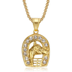 Pendentif Fer à Cheval Carmargue Acier Or Elvis Diamants bobijoo