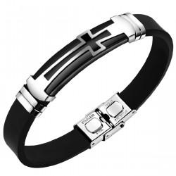BR0055 BOBIJOO Jewelry Bracelet Cross Silicone Stainless Steel Adjustable