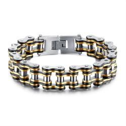 BR0240 BOBIJOO Jewelry Wide Chain Bracelet Motorcycle Man Steel Gold Silver Black