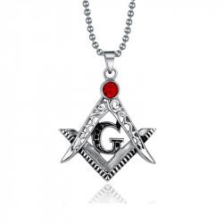 PE0004 BOBIJOO Jewelry Pendant Necklace Frank Mason Steel Fake Ruby Red