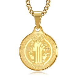 PE0276 BOBIJOO Jewelry Pendant Medal Necklace, St Benedict Steel Gold Chain