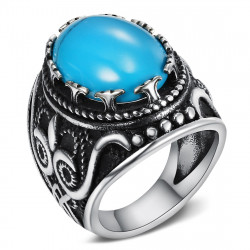 BA0362 BOBIJOO Jewelry Signet Ring Biker Turquoise Owl 24mm