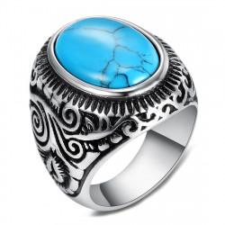 BA0363 BOBIJOO Jewelry Signet Ring Biker Turquoise Triskele 22mm