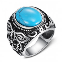 BA0364 BOBIJOO Jewelry Siegelring Ring Biker Türkis Blume 21mm