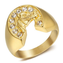 BA0369 BOBIJOO Jewelry Signet Ring Steel Gold Horseshoe Elvis Diamonds