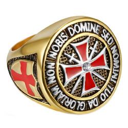BA0016 BOBIJOO Jewelry Ring Knight Order Templar Gilt Gold End Red Cross Steel