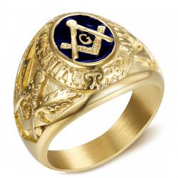 BA0020 BOBIJOO Jewelry Signet Ring freemason Master Blue Night Gold Steel