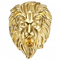 Bague Chevalière Tête de Lion Acier Plaqué Or Homme bobijoo