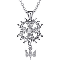 PE0155S BOBIJOO Jewelry Anhänger Kreuz Huguenote Protestantischen Süden Stahl 316L + Kette