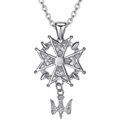 PE0155S BOBIJOO Jewelry Cross pendant Huguenot Protestant South Steel 316L + Chain