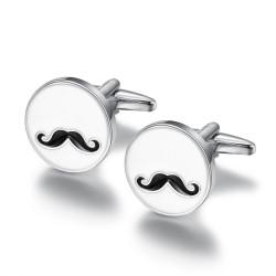 BM0039 BOBIJOO Jewelry Boutons de Manchette Rond Email Blanc Moustache