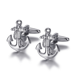 BM0045 BOBIJOO Jewelry Boutons de Manchette Ancre Marine Argent
