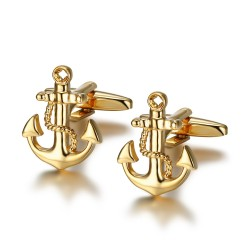 BM0044 BOBIJOO Jewelry Boutons de Manchette Ancre Marine Or