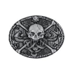 BC0011 BOBIJOO Jewelry Belt buckle Skull Crossbones Death's Head Snake