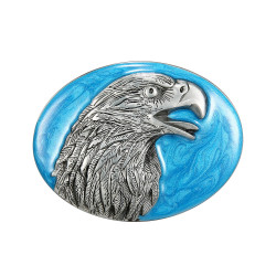 Boucle de Ceinture Tête d'Aigle Fond Bleu Ciel bobijoo