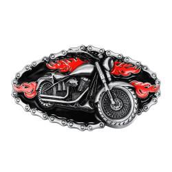 BC0016 BOBIJOO Jewelry Belt buckle Motorcycle Bike Chain, Red Fire