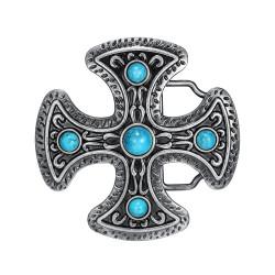 BC0031 BOBIJOO Jewelry Belt buckle Cross Pattée Turquoise
