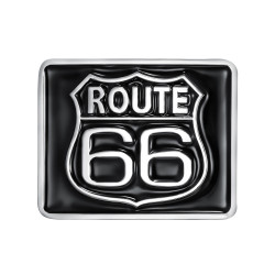 Boucle de Ceinture Carrée Route 66 Email Noir bobijoo