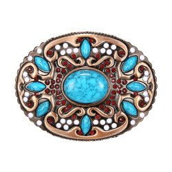 Boucle de Ceinture Ovale Turquoises Bronze bobijoo