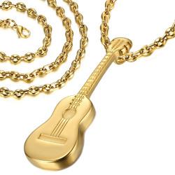 Pendentif Guitare Voyageur Gipsy Acier Or + Chaîne Café bobijoo