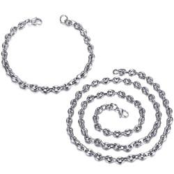 COH0024 BOBIJOO Jewelry Set Chain + Bracelet Coffee Bean Steel Silver