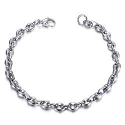 BR0278 BOBIJOO Jewelry Steel Coffee Bean Bracelet 21cm, 4 sizes to choose from