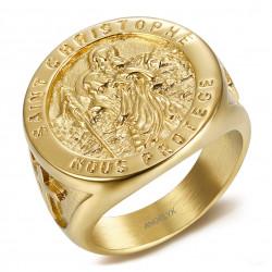 BA0378 BOBIJOO Jewelry Ring Signet ring, Saint Christopher Steel Gold