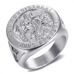 BA0379 BOBIJOO Jewelry Ring Siegelring Saint Christophe Stahl Geld