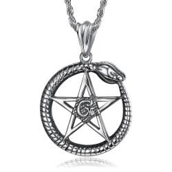 PE0279 BOBIJOO Jewelry Pendant Ouroboros Cycle of life Pentagram Steel