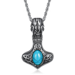 Pendentif Collier Marteau Thor Mjöllnir Viking Turquoise bobijoo